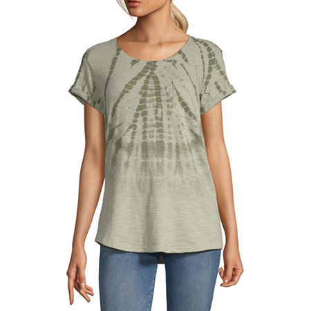 a.n.a-Womens Round Neck Short Sleeve T-Shirt, X-small , Green
