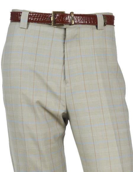 Mens Wool PinStripe Designed Flat Front Seafoam Pant