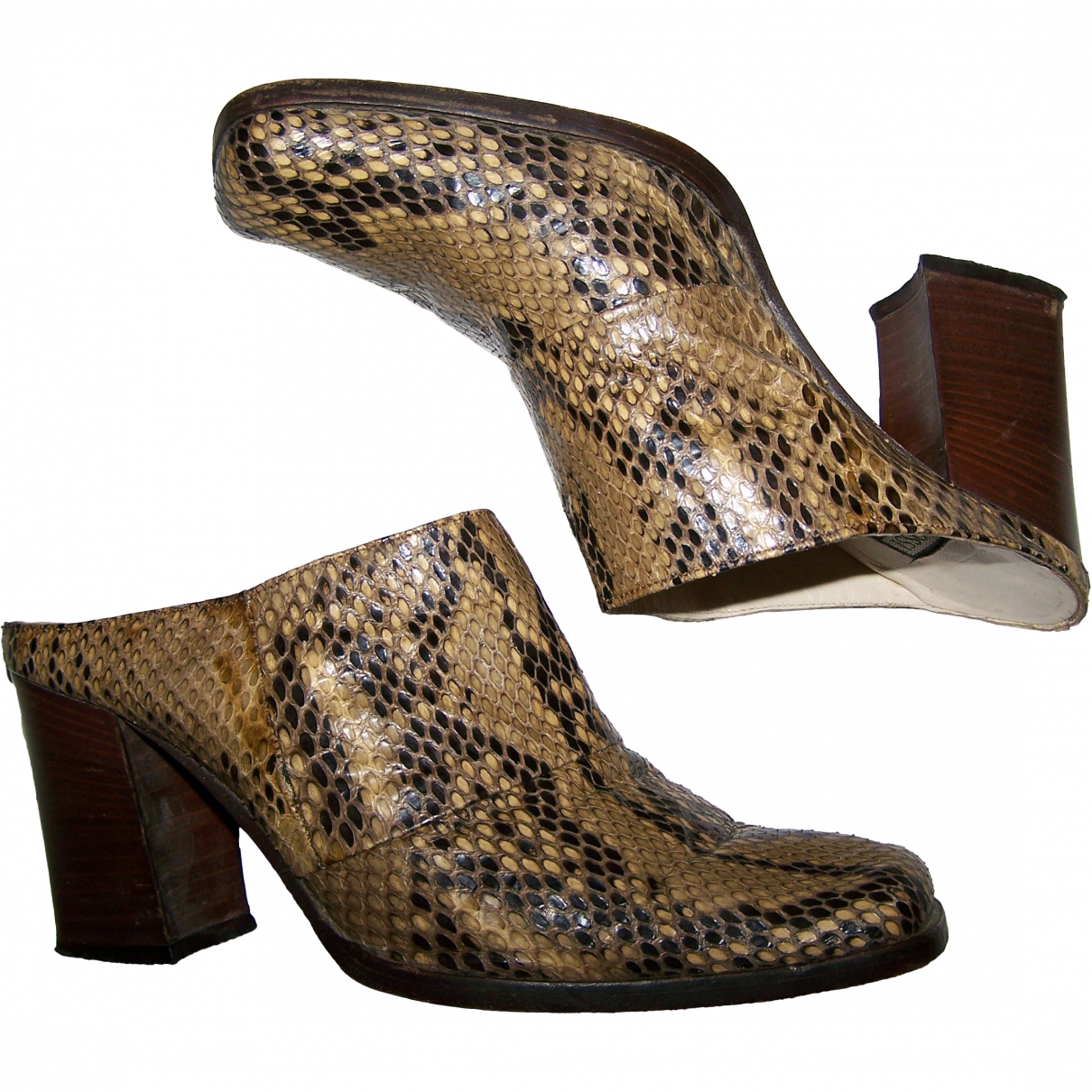 Non Signé / Unsigned \N Camel Python Sandals for Women 37 EU