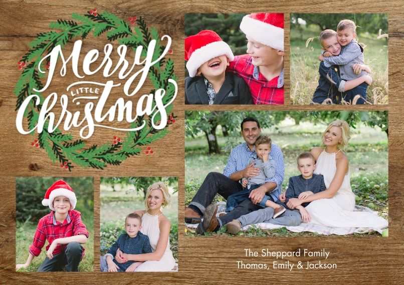 Christmas Photo Cards 5x7 Cards, Premium Cardstock 120lb with Scalloped Corners, Card & Stationery -Christmas Green Wreath