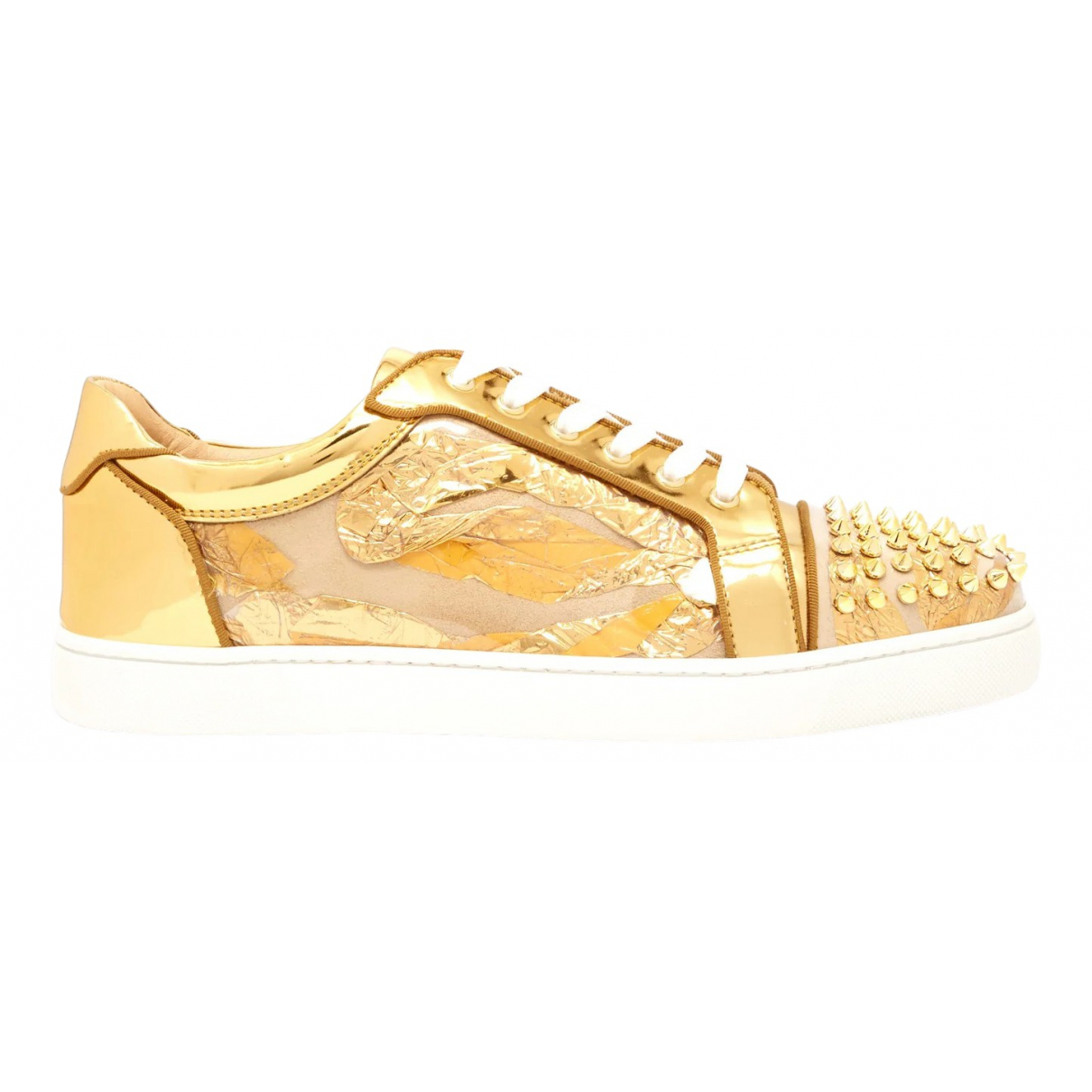 Christian Louboutin \N Gold Patent leather Trainers for Men 44 EU