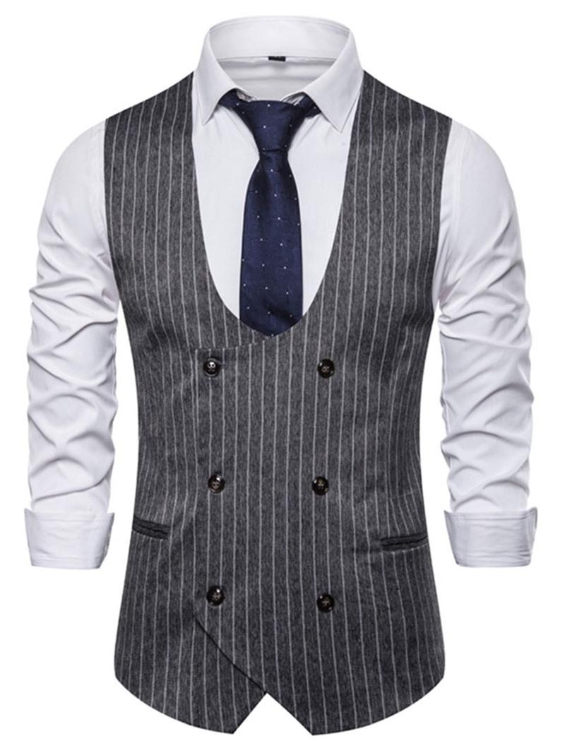 Ericdress Color Block Print Men's Double-Breasted Waistcoat