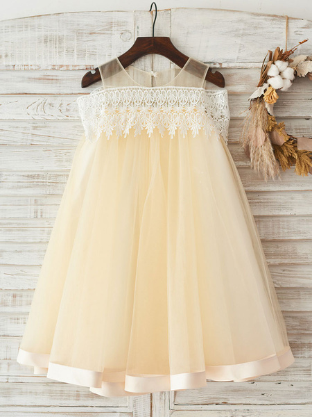 Milanoo Flower Girl Dresses Jewel Neck Sleeveless Lace Formal Kids Pageant Dresses