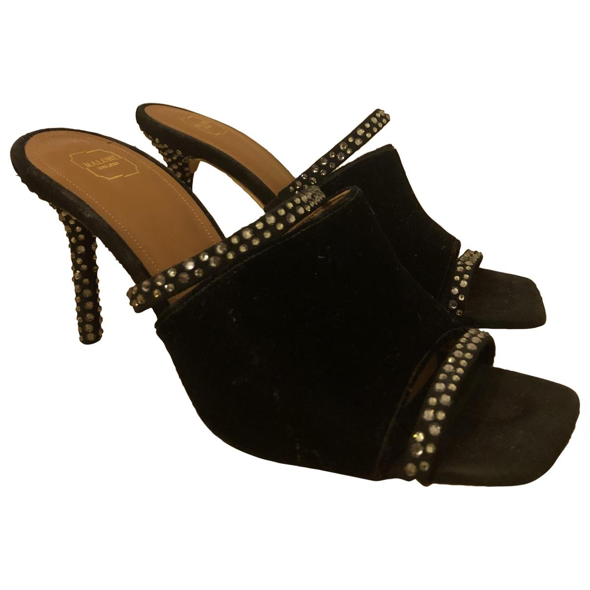 Malone Souliers \N Black Velvet Sandals for Women 37 EU