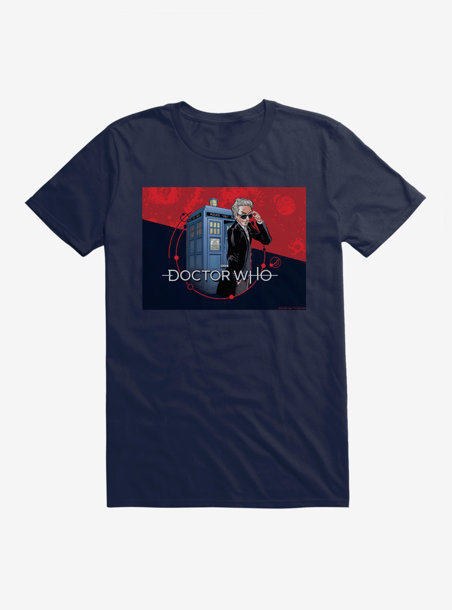 Doctor Who Twelfth Doctor In Shades TARDIS Comic T-Shirt