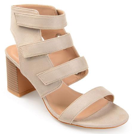 Journee Collection Womens Perkin Open Toe Stacked Heel Pumps, 7 Medium, Brown