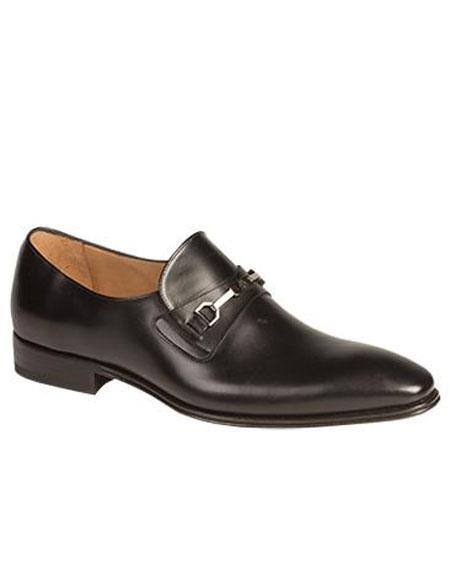 Mens Black Metal Bit Italian Calfskin Slip-on Loafers Shoes Brand