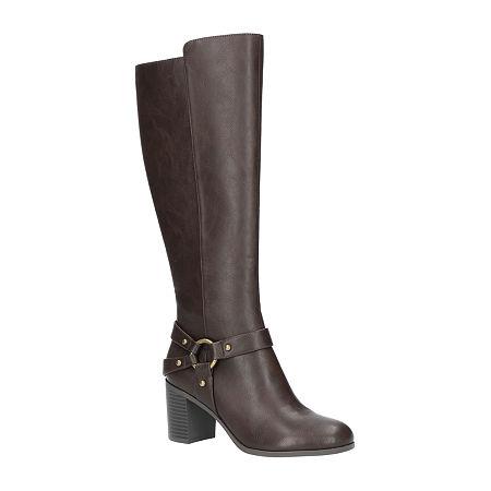 Easy Street Womens Franconia Booties Block Heel, 6 1/2 Medium, Brown