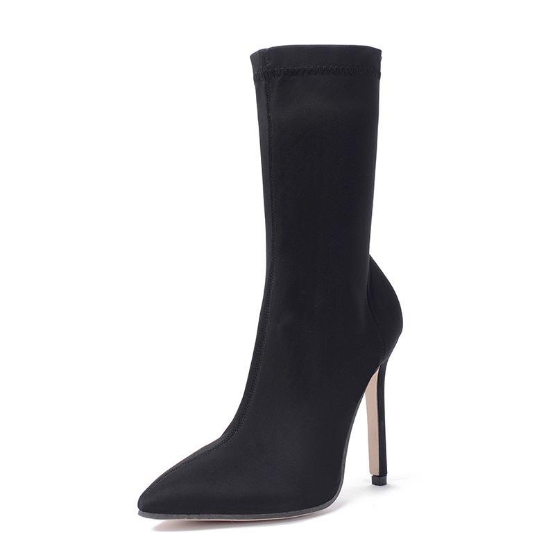Ericdress Plain Pointed Toe Stiletto Heel Slip-On Women's Ankle Boots