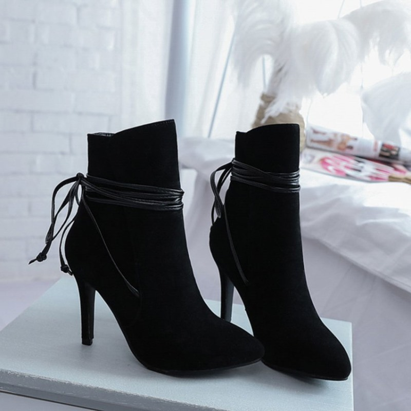 Ericdress Stiletto Heel Plain Lace-Up Front Thread Boots