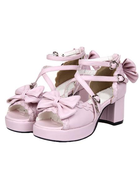 Milanoo Elegant Round Toe PU Leather Street Wear Lolita Shoes