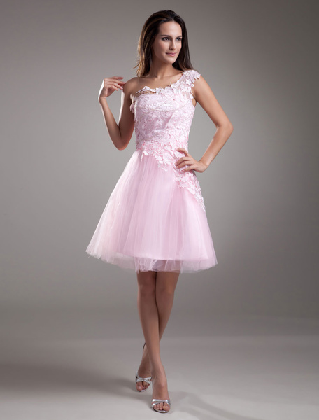 Milanoo Pink Homecoming Dress One-Shoulder Lace Tulle Dress Wedding Guest Dress