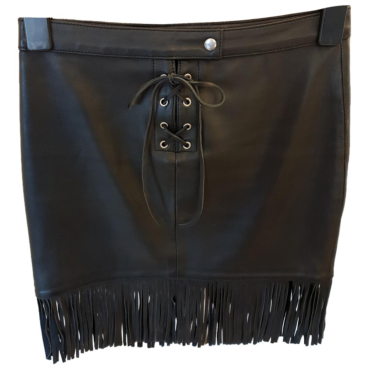 Maje \N Black Leather skirt for Women 34 FR