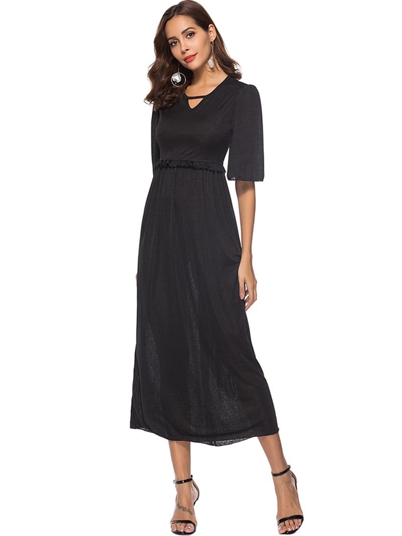 Ericdress V-Neck Half Sleeve Stringy Selvedge Plain Summer Dress