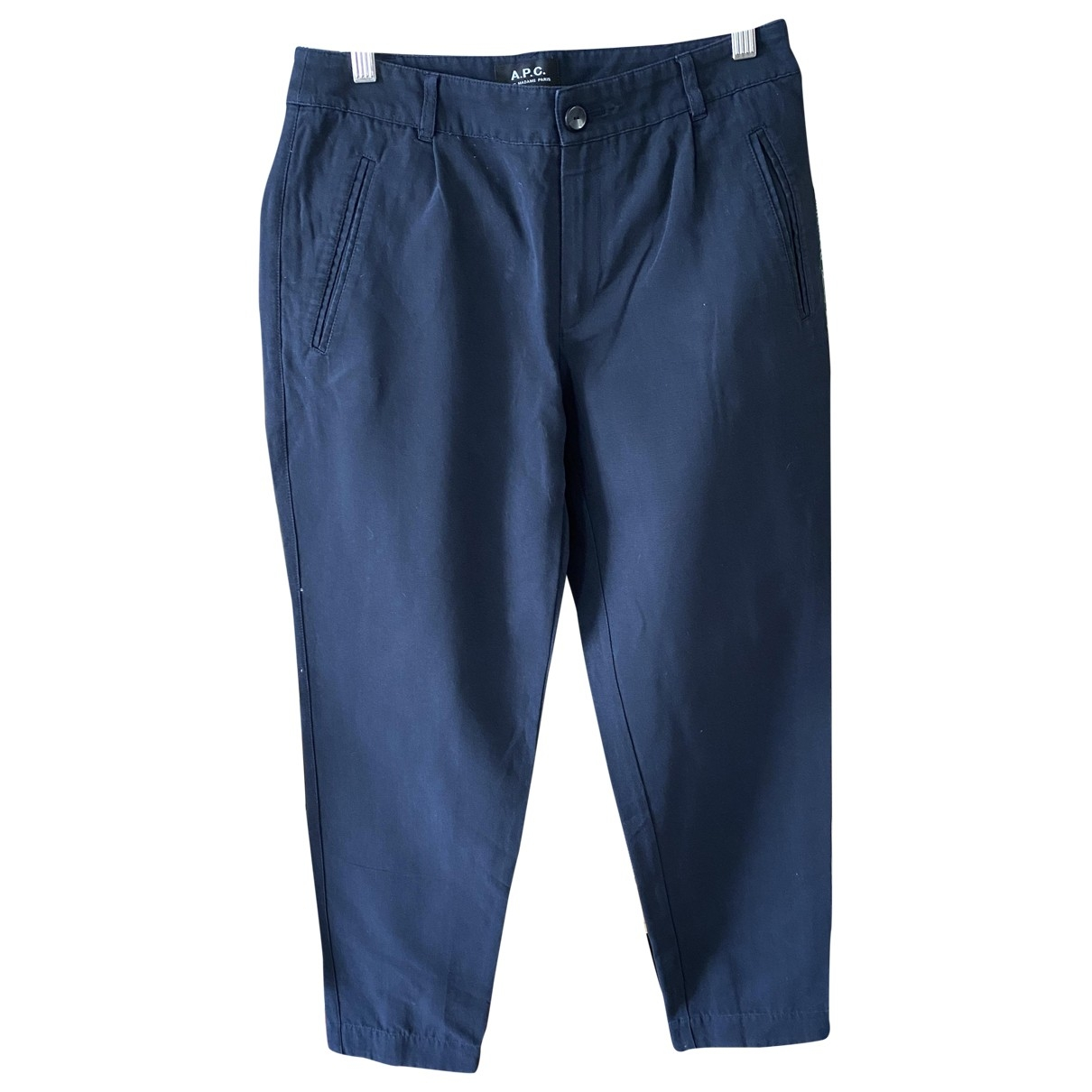 Apc \N Navy Cotton Trousers for Women 38 FR