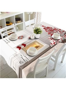 White Christmas Decoration Pattern 3D Tablecloth