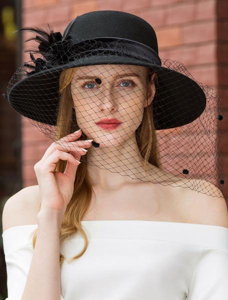 Milanoo Veil Cloche Hat Vintage Royal Black Wide Brim Headpieces Retro Hair Accessories Halloween