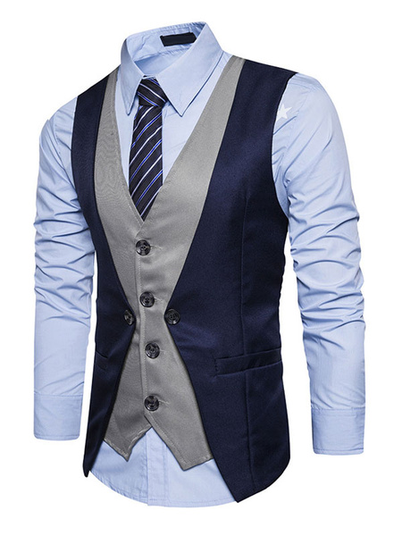 Milanoo Dark Navy Waistcoat V Neck Two Tone Fake Two Piece Style Men'S Vest Suit