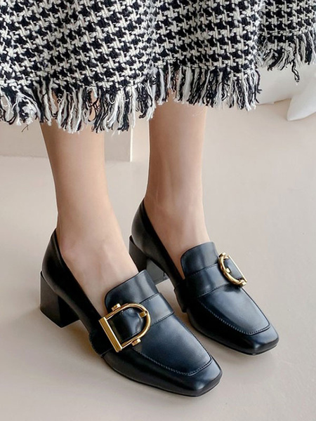 Milanoo Black Loafers Women Square Toe PU Leather Metal Details Slip On Shoes