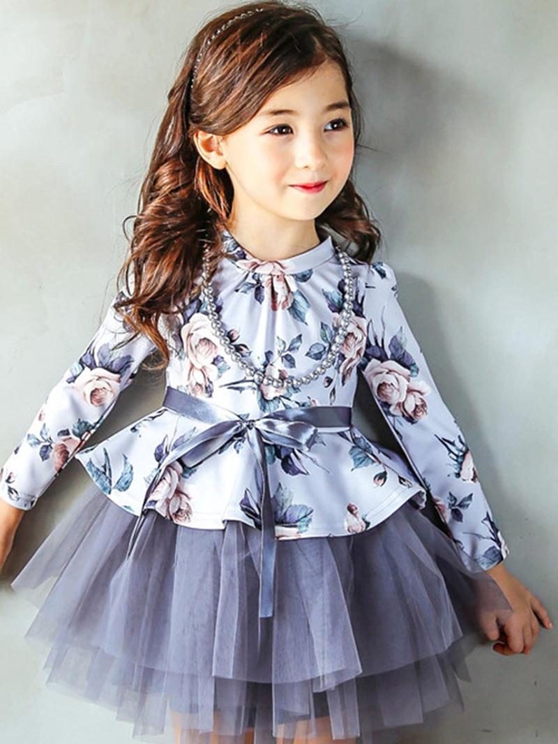 Ericdress Flower Print Mesh Patchwork Girl's Dress