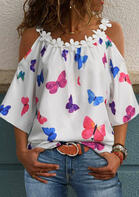 Lace Floral Butterfly Splicing Cold Shoulder Blouse without Necklace - White