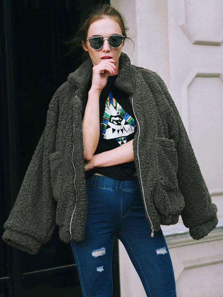 Milanoo Teddy Bear Coat Faux Fur Jacket Wool Long Sleeve Shearling Jacket Light Tan Winter Coat For Women