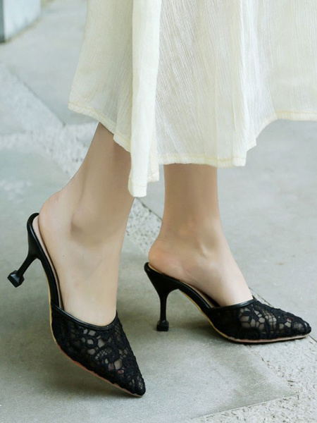 Milanoo High Heel Mules Lace Black Pointed Toe Slip On Slide Shoes
