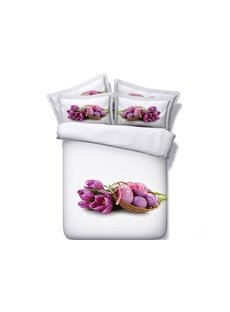 Purple Tulips and Easter Eggs Printed Cotton 3D 4-Piece White Bedding Sets