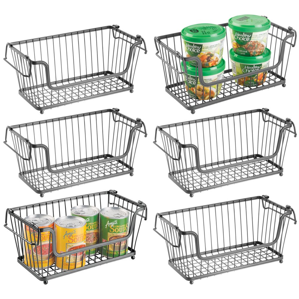 Small Stacking Metal Open Kitchen Pantry Food Storage Basket in Graphite, 6.3 x 12.5 x 5.8, Set of 6, by mDesign