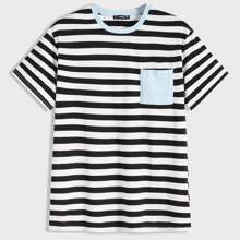 Men Pocket Patched Striped Tee