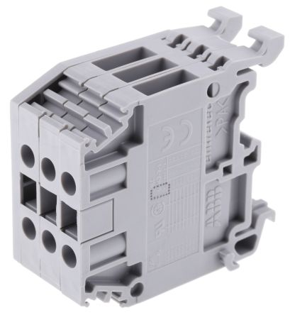 Entrelec Distribution Block, 3 Way, 4mm², 32A, 800 V, Grey