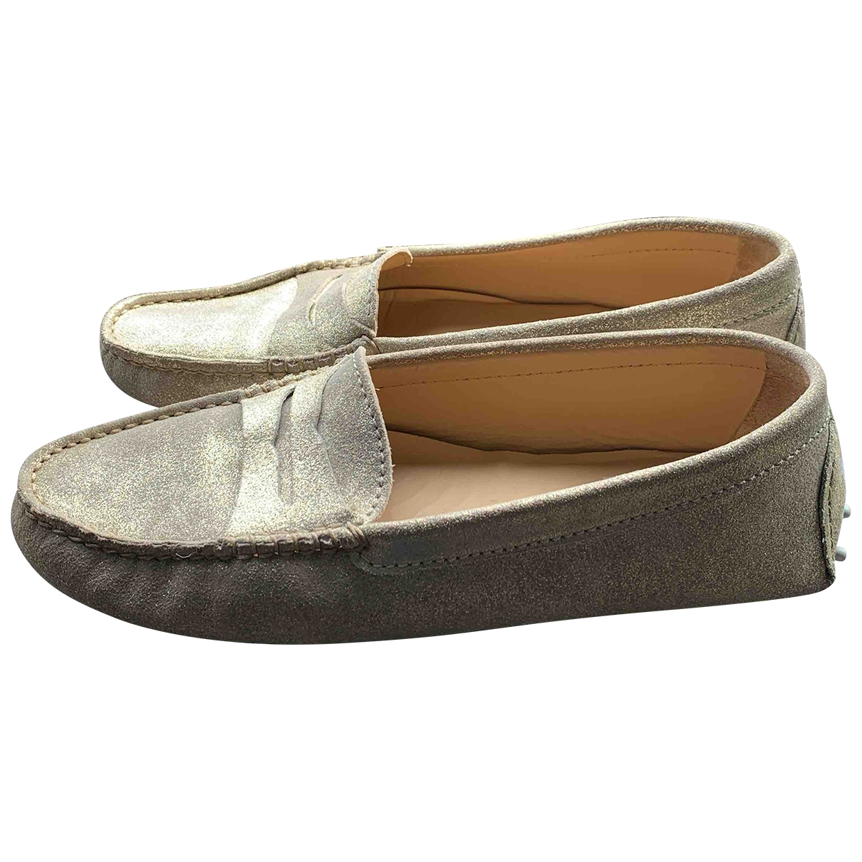 Bobbies \N Gold Leather Flats for Women 38 EU