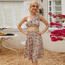 Ruffle Trim One Shoulder Floral Top & Skirt