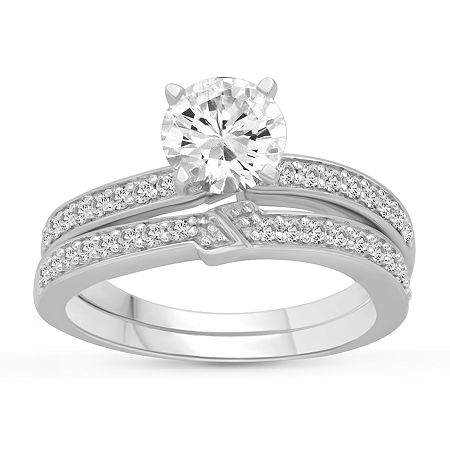 Womens 2 1/2 CT. T.W. White Cubic Zirconia Sterling Silver Engagement Ring, 7 , No Color Family