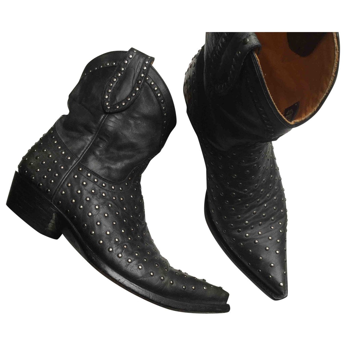 Mexicana \N Anthracite Leather Ankle boots for Women 39 EU