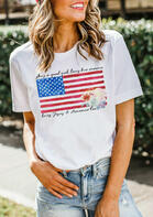 She's A Good Girl Loves Her Mama American Flag T-Shirt Tee - White