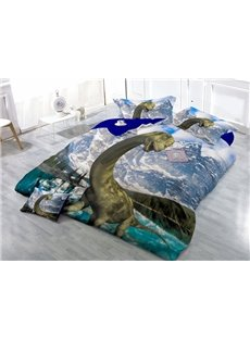 Lifelike Dinosaur Wear-resistant Breathable High Quality 60s Cotton 4-Piece 3D Bedding Sets