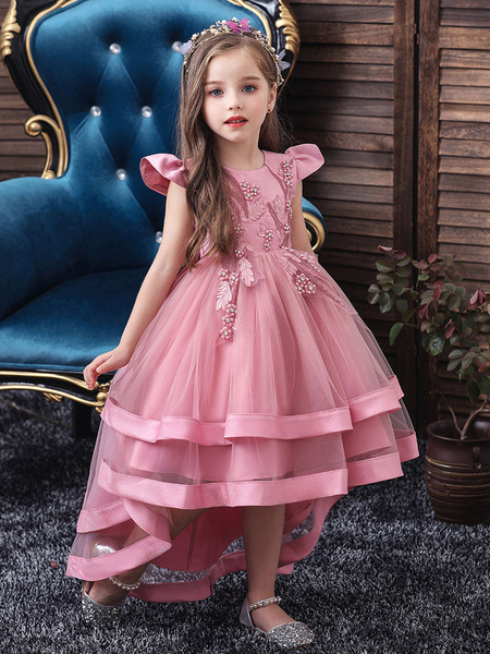 Milanoo Flower Girl Dresses Jewel Neck Tulle Sleeveless With Train Princess Silhouette Bows Kids Social Party Dresses