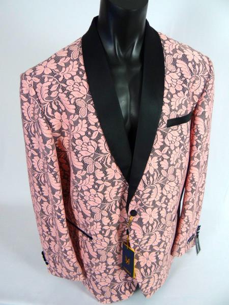 Mens Single Breasted Shawl Lapel Jacket Blazer Pink Black