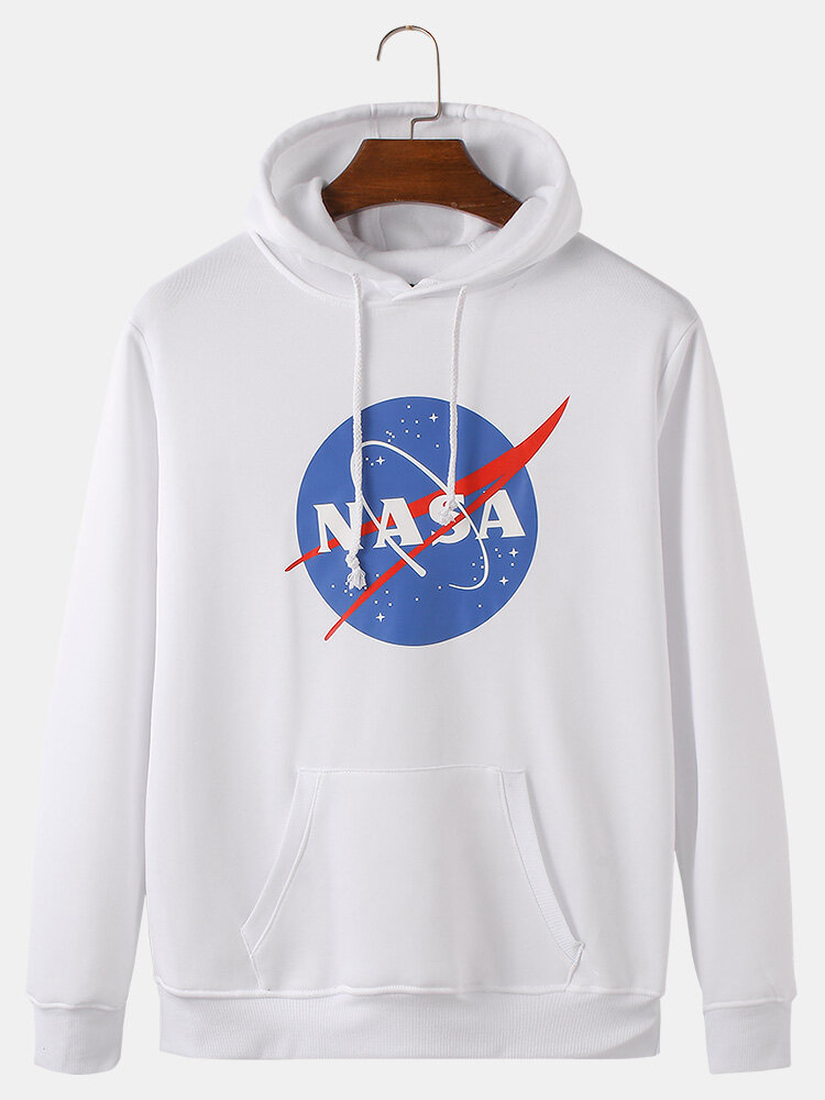 Mens Space Letter Printed Flocking Loose Drawstring Hoodies With Kangaroo Pocket
