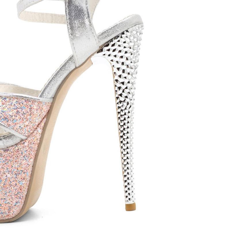 Ericdress Buckle Stiletto Heel Open Toe Platform Sandals