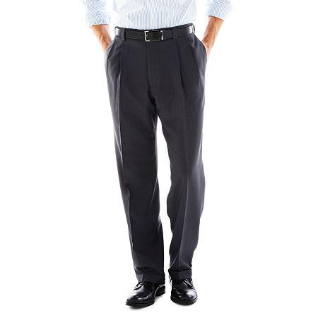 Haggar eCLo Stria Classic-Fit Pleated Dress Pants, 34 30, Gray