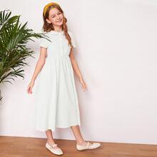 Girls Peter Pan Collar Button Front Solid Dress