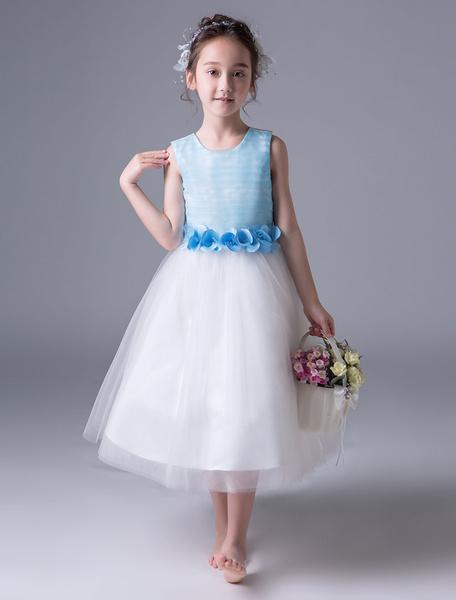 Milanoo Blue Flower Girl Dresses Princess Pageant Dress Kids Sleeveless Sash Ribbon Bow Formal Party Dresses