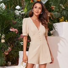 Covered Button Cut-out Tie Back Romper