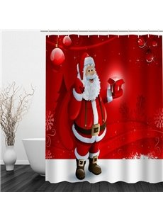 Smiling Santa Carry Gifts Printing Christmas Theme Bathroom 3D Shower Curtain
