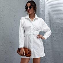 Drop Shoulder Button Front Belted Dress