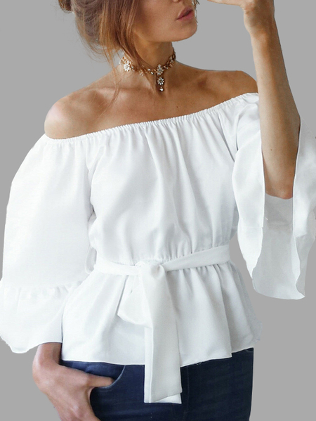 Yoins White Chiffon Off-The-Shoulder Top with Waist Tie