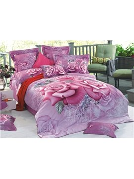 3D Purple Blooming Roses Printed Cotton 4-Piece Bedding Sets/Duvet Cover
