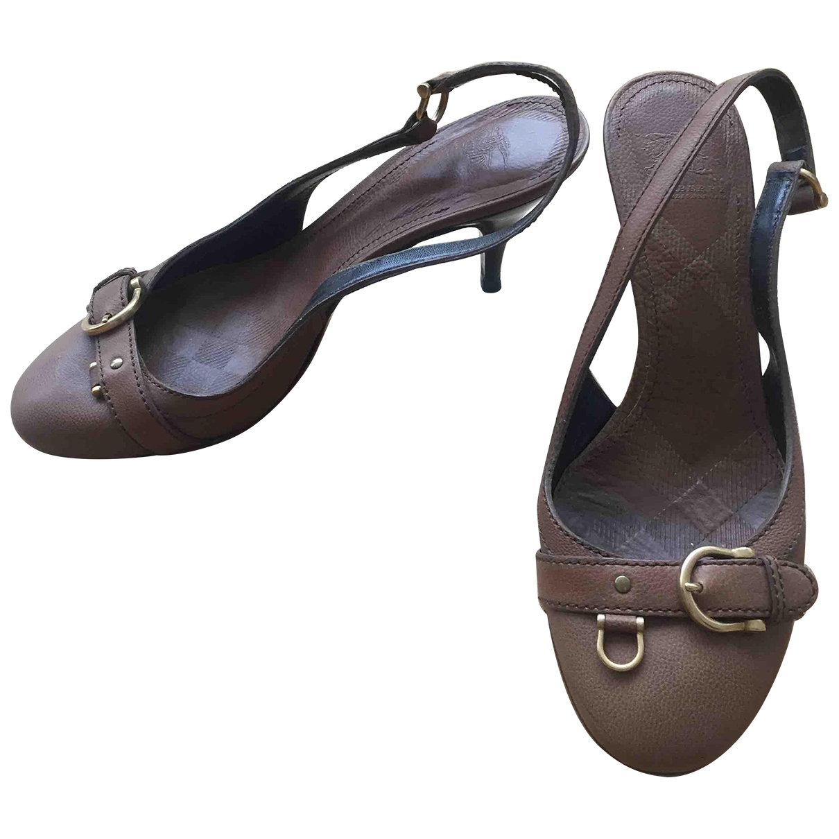Burberry \N Camel Leather Sandals for Women 38 EU